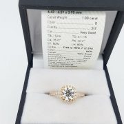 14k Rose Gold Diamond Halo Engagement Ring 1.40 Carat TW 7